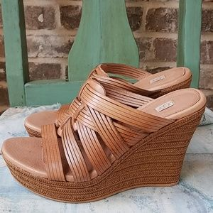 Ugg Light Brown Strappy Leather Woven Wedges